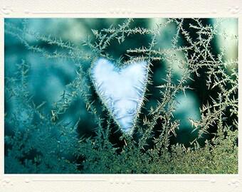 Icy Pale Blue Heart handmade photo notecard