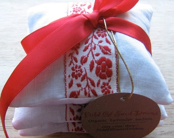 Lavender Sachets Customize your Blend filled with Organic Lavender made with White Linen Lavender Gift Set