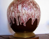 Mid Century modern retro volcanic frothy ceramic glazed table lamp Maroon and white colors with brass and maple base