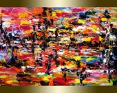 original Abstract  Painting colors of spring oil painting Acrylic painting Surreal palette knife.
