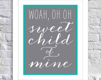 Nursery Decor, Baby Room // Sweet Child of Mine - Child's Room Decor - Wall Art - BABY SHOWER Gift