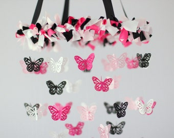 Hot Pink Black Butterfly Nursery Mobile Chandelier- Baby Girl Nursery Mobile Room Decor in Pink, Black & White