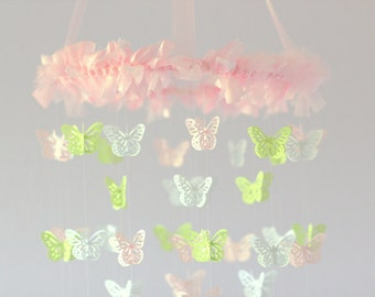 Butterfly Nursery Mobile- Pink, Green, & White Butterfly Mobile, Baby Shower Gift, Photographer Prop