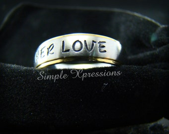 Engraved Ring with Names - 6mm Two Tone Stainless Steel Ring