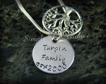 Family Tree of Life Pendant Necklace with Hidden Message