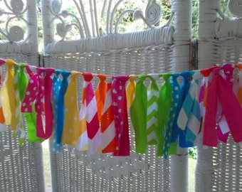 Mini Fabric Garland- Bright Colors lime green,pink, orange,aqua, yellow. Birthday, Shower,Photo Prop