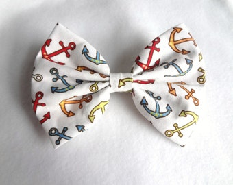 FREE US SHIPPING! Anchors Aweigh- nautical anchor print hair bow// anchor maritime kawaii cute bow// stocking stuffer