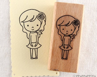 30% OFF SALE Gentle Girl Rubber Stamp