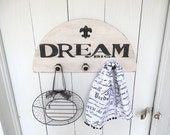 Coat Rack Wall Hanging Storage Solution Black and White Home Decor Hand Painted Dream Big