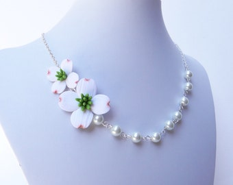 White Dogwood Flower necklace, Dogwood Asymmetrical Necklace, Dogwood Necklace, Dogwood Flower Necklace