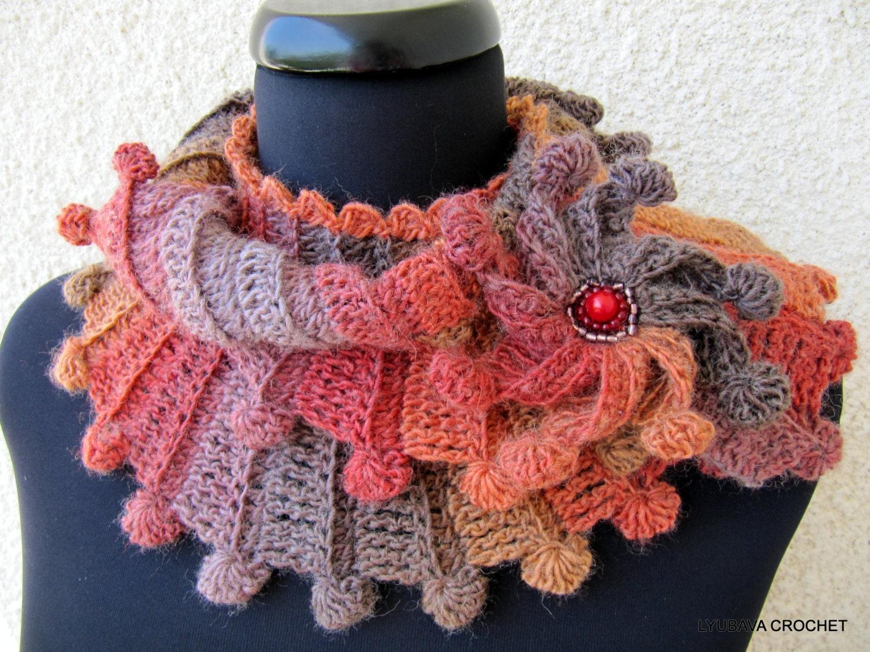 Crochet Scarf Pattern Womens Crochet Unique By Lyubavacrochet