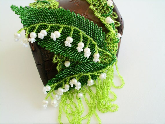 Beaded Necklace Lilies of the valley. Necklace Muguet. Beadweaving  necklace. hand made