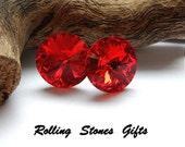12mm Light Siam Swarovski Rivoli Rhinestone Stud Earrings-Bright Red Crystal Studs-Large Red Rhinestone Studs