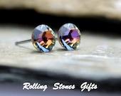 6.32mm Volcano Swarovski Rhinestone Stud Earrings-Volcano Crystal Stud Earrings-Small Color Changing Rhinestone Stud Earrings