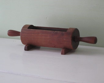 Vintage Footed Wood Rolling Pin Planter Plastic Insert