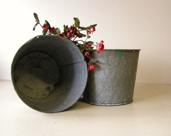 pair of sap buckets, galvanized pail, wedding buckets, quantity price breaks