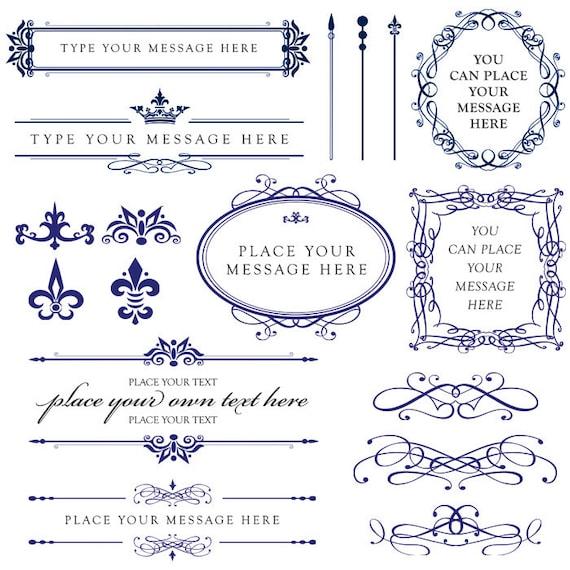 Wedding Card Design Line Art : Royal blue wedding clipart diy invitations by maypldigitalart