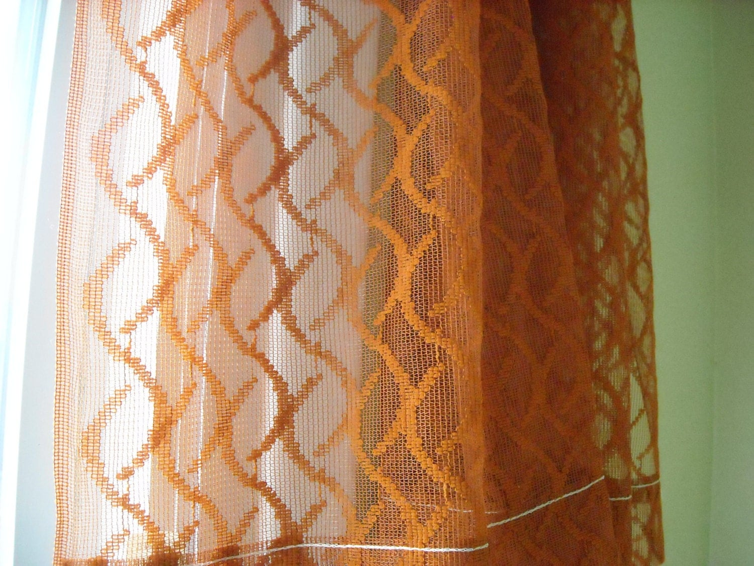 Burnt Orange Sheer Curtains Sheer Curtain Burnt Orange Rust Color One Panel Of By Emwvintage