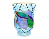 RESERVED FOR RICKSLI - Tropical Fish Hand Painted Glass Vase / Candle Holder / Candy Storage