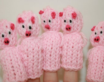 The Five Little Piggies Finger Puppets. 5 x Pigs.