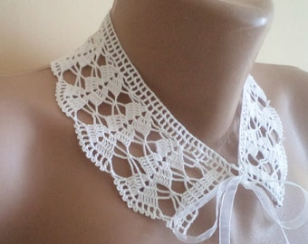 Peter Pan Collar, Crochet Collar, Collar, Handmade White Lace Collar, detachable collar, necklace, Mothers day Gifts, For Her Gifts