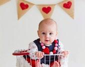 Hearts burlap banner - Valentine's day burlap banner - Red hearts burlap banner- wedding garland