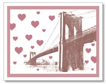 Brooklyn Bridge Valentine Card. Brooklyn Bridge HEARTS Card. New York City Card. Brooklyn Love Card. Made in Brooklyn. I Love You Card