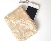Upcycled Lined Zipper Pouch -Golden & White Floral Upholstry weight strength