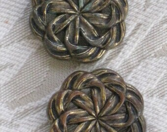 Pair of Jumbo Metallisized Plastic Shank Buttons with Woven Pinwheel Design - Bronze Brass Tone - Vintage Supplies