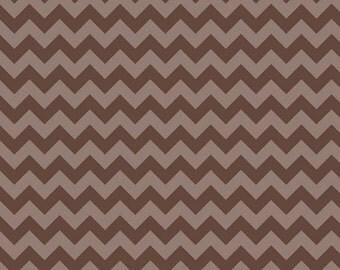 Small Chevron Tone on Tone Brown by Riley Blake Designs Half Yard Cut