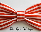 Vintage-1920's-Style-Hair Bow-Clip-Red-and-White-small-Stripe-Fabric-Rockabilly-Pin-Up-Carnival-Circus-For-Women-Teens-Girls-Psychobilly