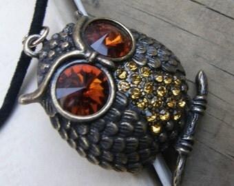 Vintage Owl Pendant with Huge Orange Rhinestone Eyes