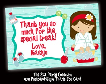 The Spa Party Collection - Customized Thank You Card Printable - 4x6 - Your choice of hair/eye colors
