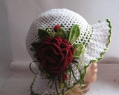 Hat Brim  in White with  Red Rose OOAK Crochet