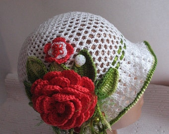 Hat Brim  in White with Bright Red Rose Green Leaves