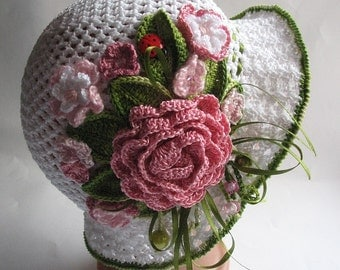 reserved Hat Brim in White with Flowers Crochet