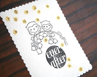 Set of 2 Handmade Postcard (Blank) Ever After Owls Dots Gold Glitter Confetti