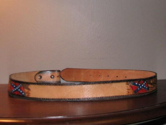 Confederate Flag Tooled Leather Belt Vintage Hand Carved