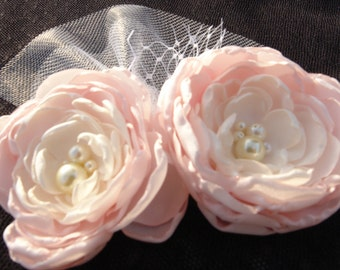 Brooch-Stunning Vintage Inspired Flower Headband-Light Pink, Ivory Flower Clip-All ages Headband Photo Prop