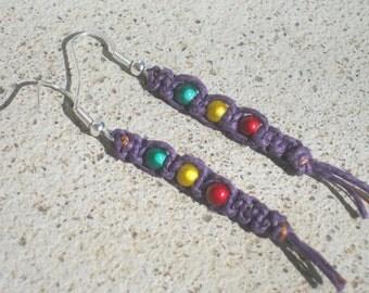 Rasta Hemp Earrings, Macrame Dangle Earrings, Purple Fiber Earrings, Bohemian Earrings, Hippie, Rasta Earrings, READY To SHIP