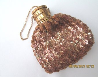Bottle purse 20s 30s gold iridescent sequins expanding top