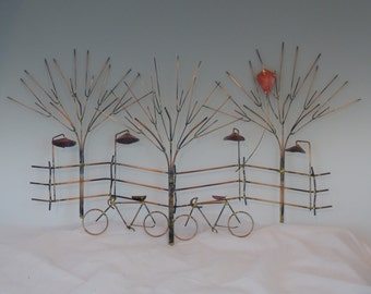 BIKES AND TREES metal sculpture:bike, wall decor,metal sculpture,metal art, home decor,wall art