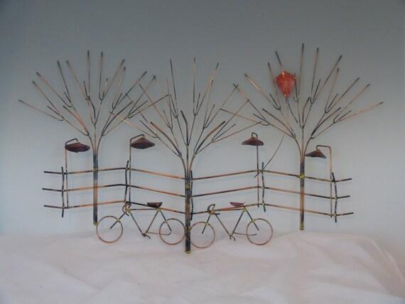 BIKES AND TREES metal sculpture:bike wall decormetal