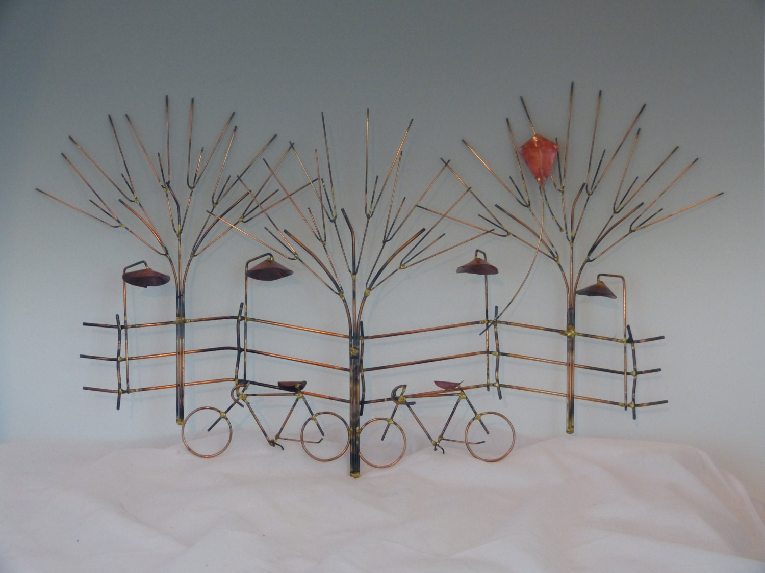 Bikes and trees metal sculpture bike wall decormetal for Tree wall art