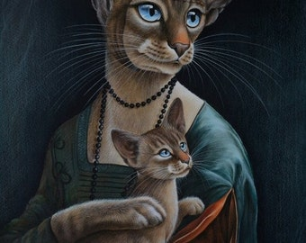 Siamese Cat Spoof Of Old Master Print Lady With A Kitty by Irina Garmashova