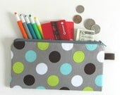 Super Summer Sale - Save 40% - Pencil Case Zipper Pencil Pouch for School or Office - Grey with Aqua Lime Brown White Dots