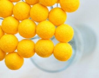Yellow Felt ball flowers, yellow craspedia, yellow billy balls, billy buttons, yellow bouquet, felt flower bouquet, office bouquet, wedding
