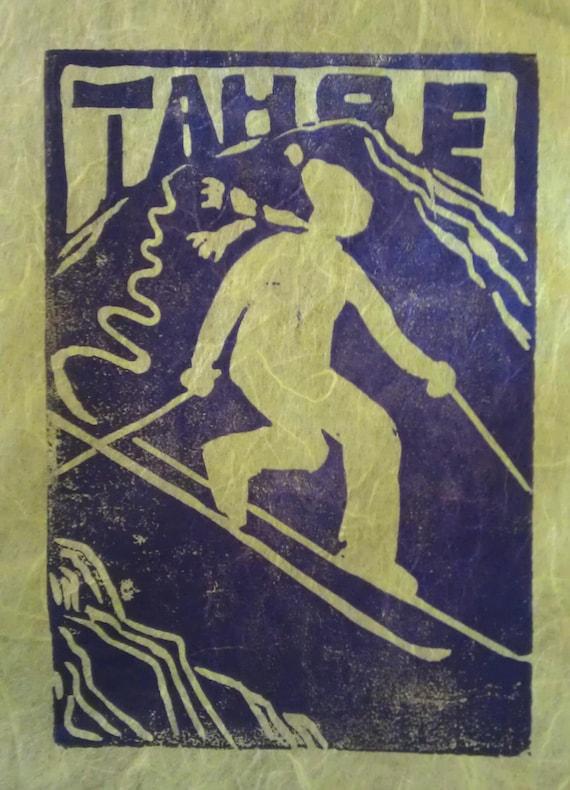 Tahoe Telemark Skier 4 x 6 print