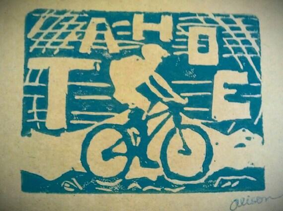 TAHOE Mountain Biker 4 x 6 hand printed card in teal