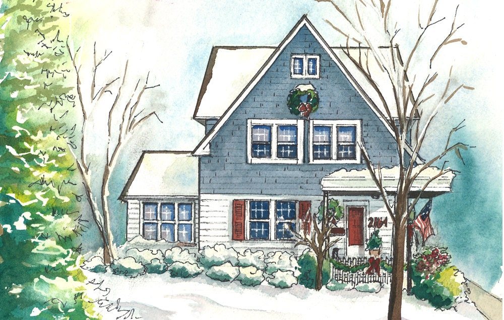 Watercolor house portraits custom painting of your home for House painting images